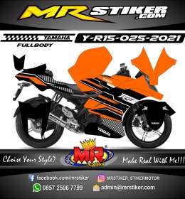 Stiker motor decal Yamaha R15 Orange line Grafis (FULLBODY)