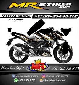 Stiker motor decal Yamaha Vixion R Black Gold Line Race Fullbody