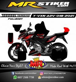 Stiker motor decal Yamaha Vixion Advance Grafis Line Tech Red Fullbody