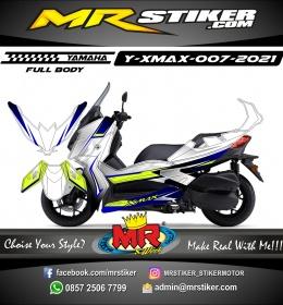 Stiker motor decal Yamaha Xmax Grafis Silver Carbon Blue Green Stabillo (FULLBODY)