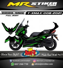 Stiker motor decal Yamaha Xmax Green Grafis Line Carbon Matte (FULLBODY)