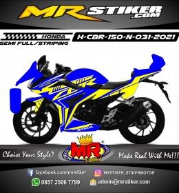 Stiker motor decal Honda CBR 150 New Blue Line Yellow Grafis
