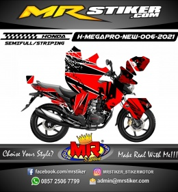 Stiker motor decal Honda Megapro New Red Grafis Maroon Splat