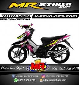 Stiker Motor decal Honda Revo Pink Black Racing Line Yellow Stabillo Grafis