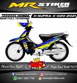 Stiker Motor decal Honda Supra X Blue Grafis Yellow Line Gradation Color