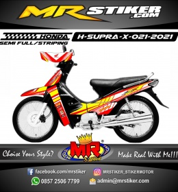 Stiker Motor decal Honda Supra X Red Grafis Line Yellow Street Cutting Line