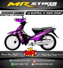 Stiker Motor decal Honda Supra X Color Gradation Purple Silver Line AirBrush