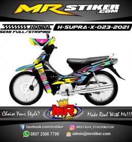 Stiker Motor decal Honda Supra X Irregular line ColorFul Racing