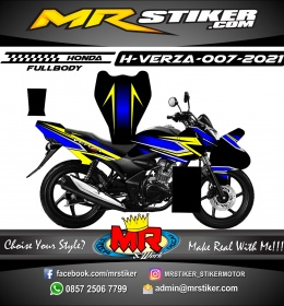 Stiker motor decal Honda Verza Fullbody Blue Grafis Yellow Sporty Race