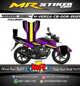 Stiker motor decal Honda Verza CB Purple Line Yellow Race Grafis