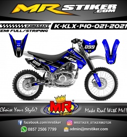 Stiker motor decal Kawasaki KLX 140 Blue Race Track Silver Mate Go-pro Edition