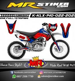 Stiker motor decal Kawasaki KLX 140 Red Navy Blue Supermoto Helmet