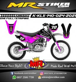 Stiker motor decal Kawasaki KLX 140 Race Track Magenta color Line