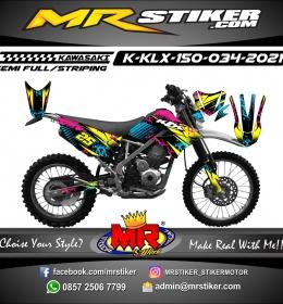 Stiker motor decal Kawasaki KLX 150 Splat Line Colorful Grafis