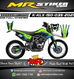 Stiker motor decal Kawasaki KLX 150 Grafis Line Blue Track Trail