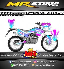 Stiker motor decal Kawasaki KLX 150 BF Line Pink Blue Gradation SuperGlossy Grafis