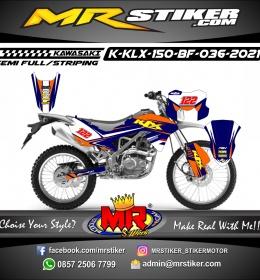 Stiker motor decal Kawasaki KLX 150 BF Navy Blue Grafis Line Orange