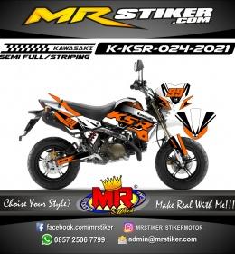 Stiker motor decal Kawasaki KSR Orange Grafis Supermoto Road Race