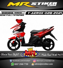 Stiker motor decal Yamaha Aerox Dark Red Line White Street Race Modifikasi